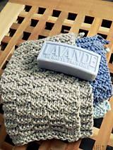 Úžitkový textil - ručne pletené žinky - modrosivé - 7601082_