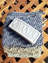 Úžitkový textil - ručne pletené žinky - modrosivé - 7601083_