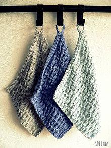 Úžitkový textil - ručne pletené žinky - modrosivé - 7601081_