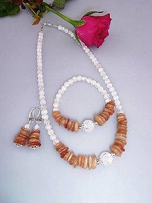 Sady šperkov - Slnečný kameň krištál náhrdelník náramok náušnice v striebre - 7601662_