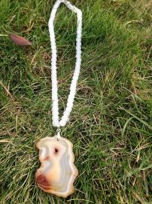 Náhrdelníky - Biely jadeit s achátom - náhrdelník - 7602446_