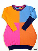Šaty - DIVA - čtyřbarevné svetrošaty s kapsami - 7601222_