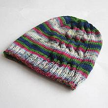 Čiapky - ZĽAVA z 10,50 - Melírovaná pletená čiapka s osmičkami - 7602230_