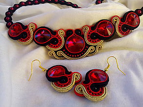 Sady šperkov - červeno čierno zlatý set - 7603457_