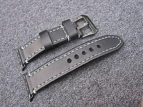 Iné šperky - Kožený remienok pre apple hodinky čierny, Apple watch remienok 42mm - 7603272_