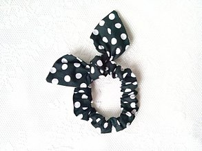 Ozdoby do vlasov - Mini scrunchie (black/white polka dots) - 7604743_