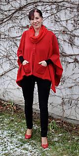 Iné oblečenie - Červené pončo s rolákom - 7604259_