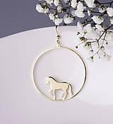 Náušnice - Náušnice kôň kruh 5cm biele/žlté zlato - 7605597_