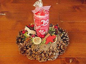 Svietidlá a sviečky - Vianočný šiškový svietnik s koníkom so sviedčkou - 7605914_