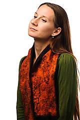 Šály - Šál z Merino vlny, dámsky, ručne plstený, odtiene oranžovej, huňatý, chlpatý, jemný, šál z plsti - 7607036_