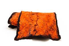 Šály - Šál z Merino vlny, dámsky, ručne plstený, odtiene oranžovej, huňatý, chlpatý, jemný, šál z plsti - 7607038_