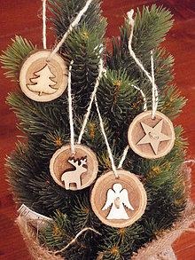 Dekorácie - Vianočné drevené ozdoby - sada 4 kusy - 7606786_