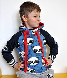 Detské oblečenie - Mikina modrá panda - 7608819_