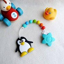 Detské doplnky - Silikónové hryzátko tučniak s klipom - 7608166_
