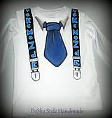 Detské oblečenie - kravata a traky v modrom - 7608454_
