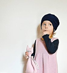 Detské čiapky - Pletená detská čiapka s mašľou - 7608826_