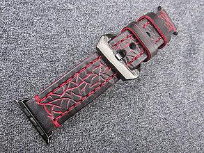 10fef807a Náramky - Kožený remienok pre apple hodinky čierny, Apple watch remienok  čierno červený 42mm -