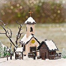 Svietidlá a sviečky - Dedinka v údolí - adventný svietnik - 7609057_