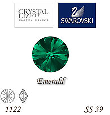 Korálky - SWAROVSKI® ELEMENTS 1122 Rivoli - Emerald, SS 39(8mm), bal.1ks - 7609416_