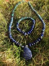 Sady šperkov - Lapis lazuli s chryzokolom - sada šperkov - 7612162_