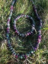 Sady šperkov - Rubín v zoisite sada - náhrdelník a náramok - 7612350_