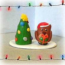 Dekorácie - Zlatý vianočný stromček a sova - 7610406_