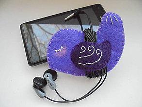 Drobnosti - Držiak na slúchadlá - fialový vtáčik - 7613616_