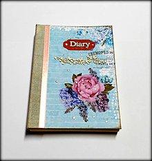 Papiernictvo - Ručne šitý denník/notes/zápisník/diár/náčrtník/skicár ,,Flowers in blue