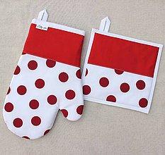 Úžitkový textil - set rukavica+chňapka Loli bielo-červená - 7616999_