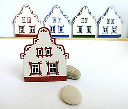Magnetky - Maľovaný domček-červený - 7615158_