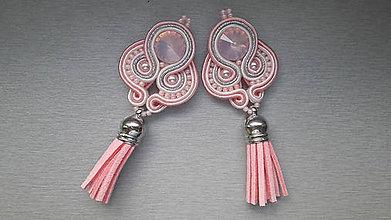 Náušnice - štebotavé strapce - ručne šité šujtášové náušnice (Ružové) - 7616202_