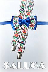 - Detský motýli + traky folklórny, ľudový, kráľovský modrý - 7617154_