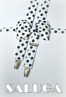 Doplnky - Pánsky motýlik + traky na modré bodky - guľky - 7617183_