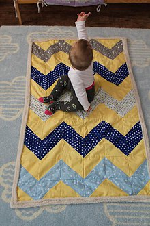 Textil - Detská deka modrá so žltým CIK CAK 83x135 - 7615239_
