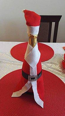 Dekorácie - fľaša Santa - 7617237_