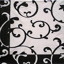 Papier - S001 - Servítky - bielo-čierny ornament - 7618239_