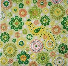 Papier - S007 - Servítky - vták, vtáčik, kvet, kvietky - 7618698_