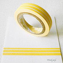 Papier - papierová washi páska žlté pásiky, 8 mm x 5 m - 7618153_