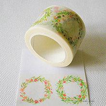 Papier - papierová washi páska kvetinový veniec I, 30 mm x 8 m - 7618331_