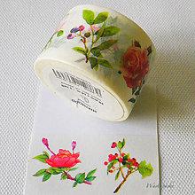 Papier - papierová washi páska kvetinový herbár I, 30 mm x 8 m - 7618362_