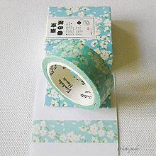 Papier - papierová washi páska modrá sakura, 15 mm x 8 m - 7618378_