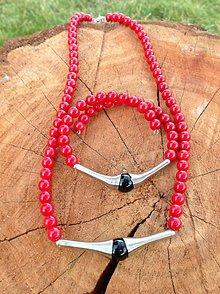 Sady šperkov - Koral červený - sada náhrdelník a náramok - 7617460_
