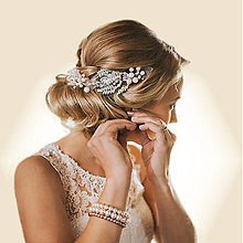 Ozdoby do vlasov - spona Alžbeta - čisto biela, typ 120-A - 7620816_