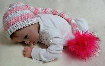 Detské čiapky - Ružovo-biela čiapočka - 7619832_
