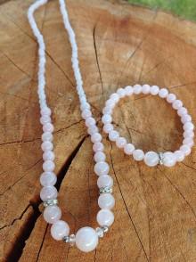 Sady šperkov - Ružová ... - sada šperkov z ruženínu - náhrdelník a náramok - 7620943_