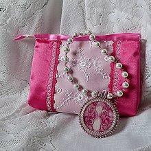 Náhrdelníky - Ružový náhrdelník s taštičkou - 7619022_