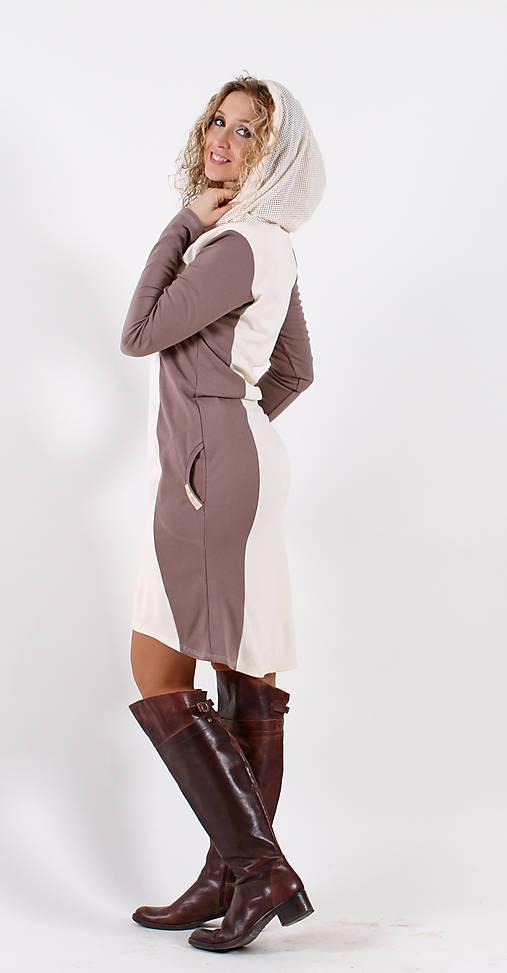 Hnědé šaty se smetanovou vsadkou   ladeesse - SAShE.sk - Handmade Šaty e7f7fac531c