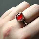 Classic Red Jade & Silver Ag 925 / Strieborný prsteň s červeným jadeitom