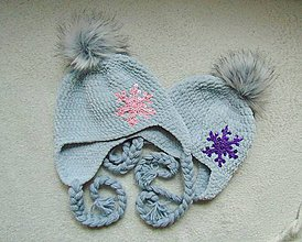 Detské čiapky - Plyšová s vločkou - 7623798_