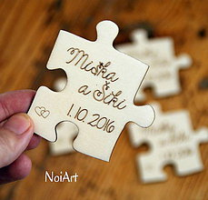 Darčeky pre svadobčanov - Magnetky pre svadobných hostí puzzle - 7622172_